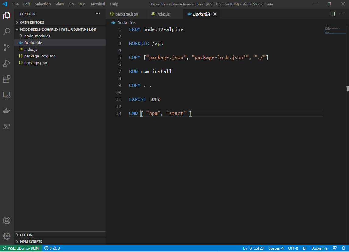 Our project in Visual Studio Code