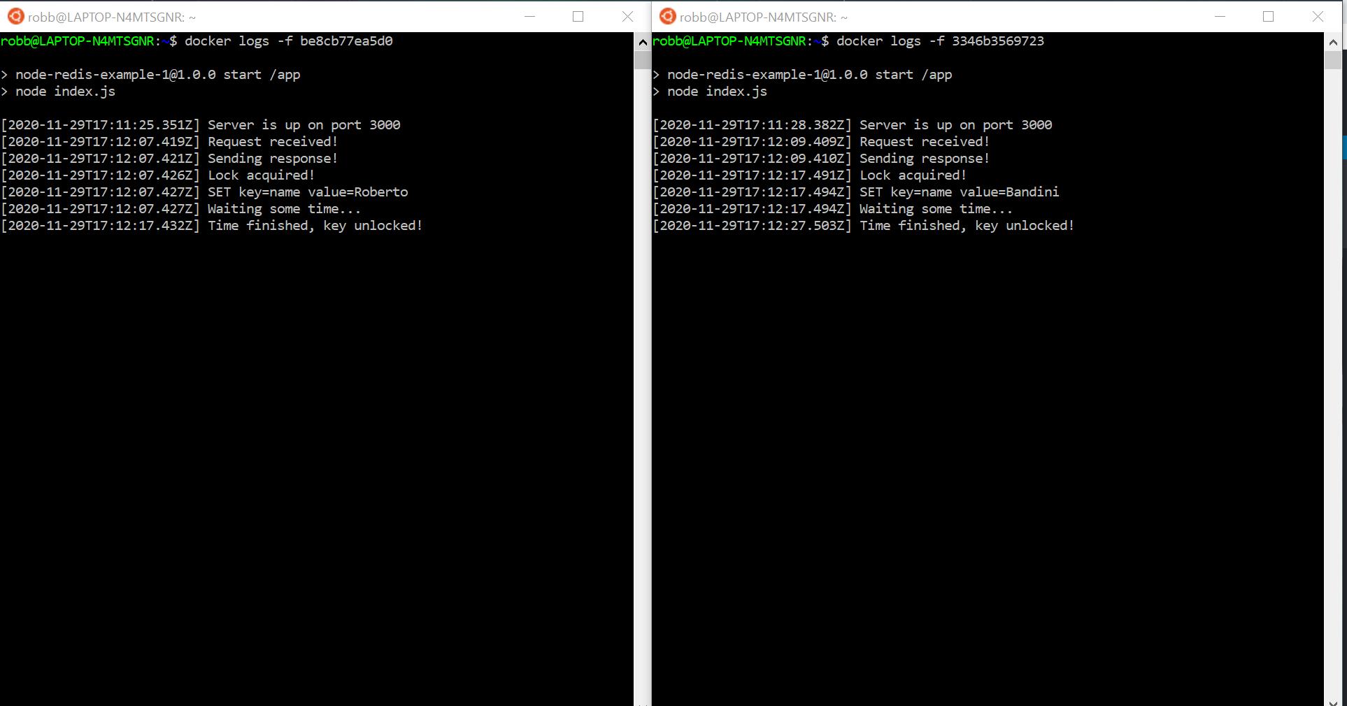 Node.js Redlock tests logs