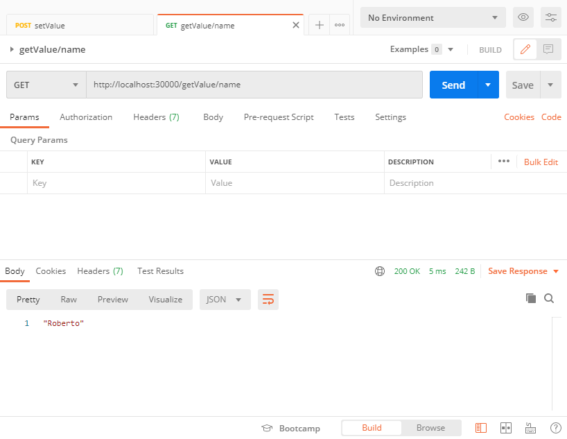 Get a key pair value using Postman