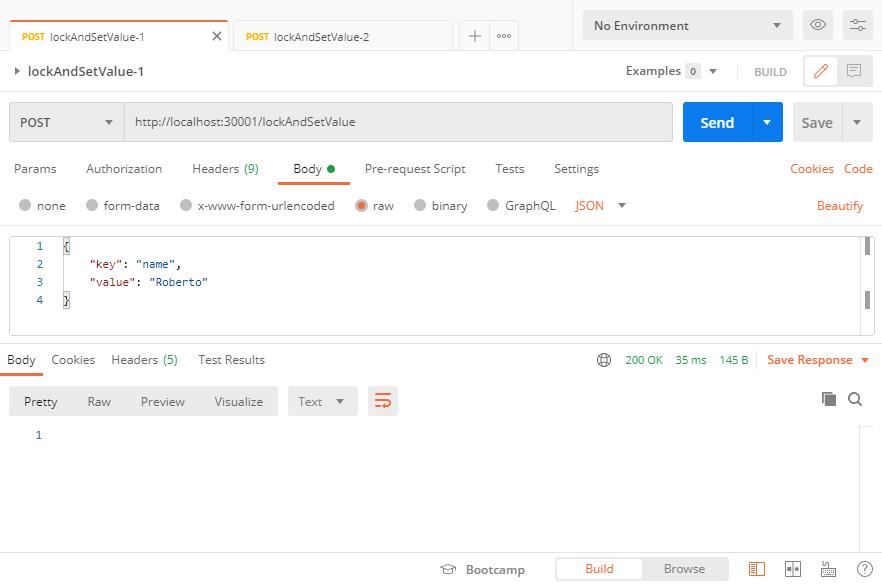 Testing Node.js Redlock with Postman, first webservice