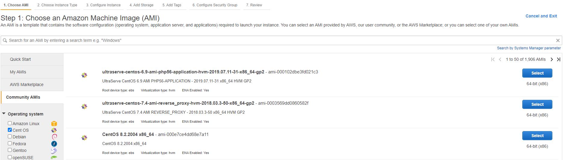 AWS EC2 CentOS 8 community AMI