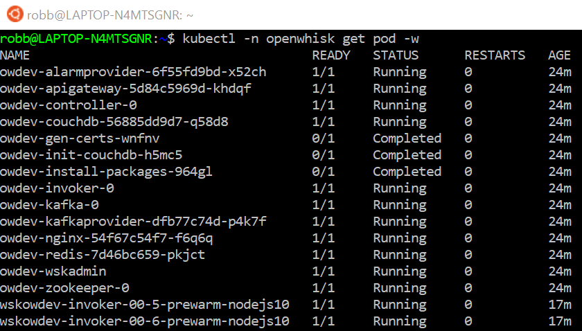 OpenWhisk deploy completed