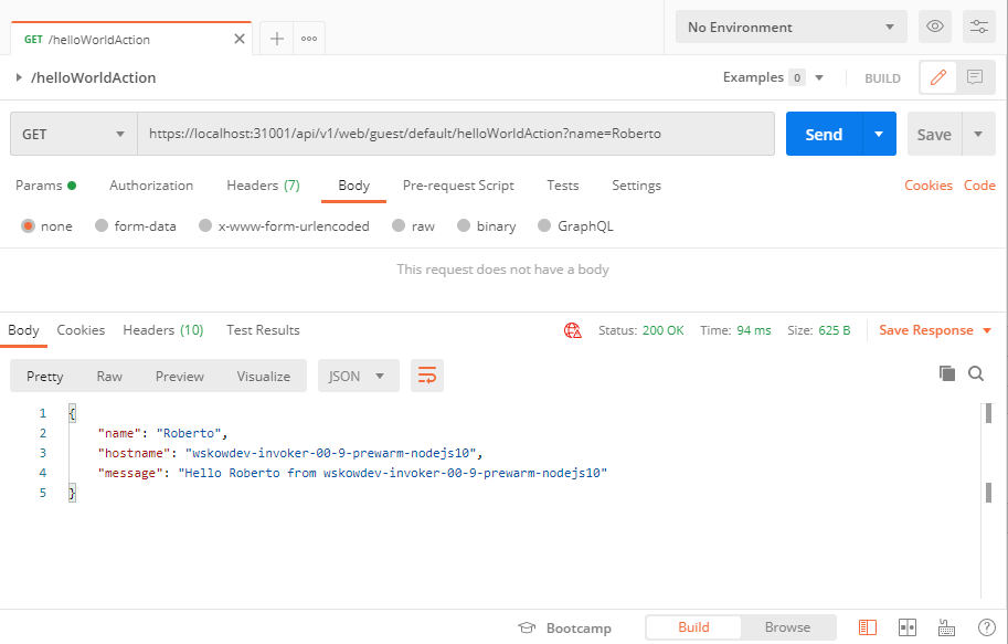 Testing an OpenWhisk web action with Postman