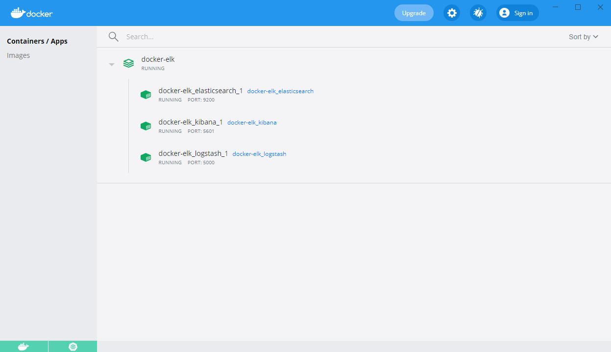 docker-elk containers on the Docker Desktop dashboard