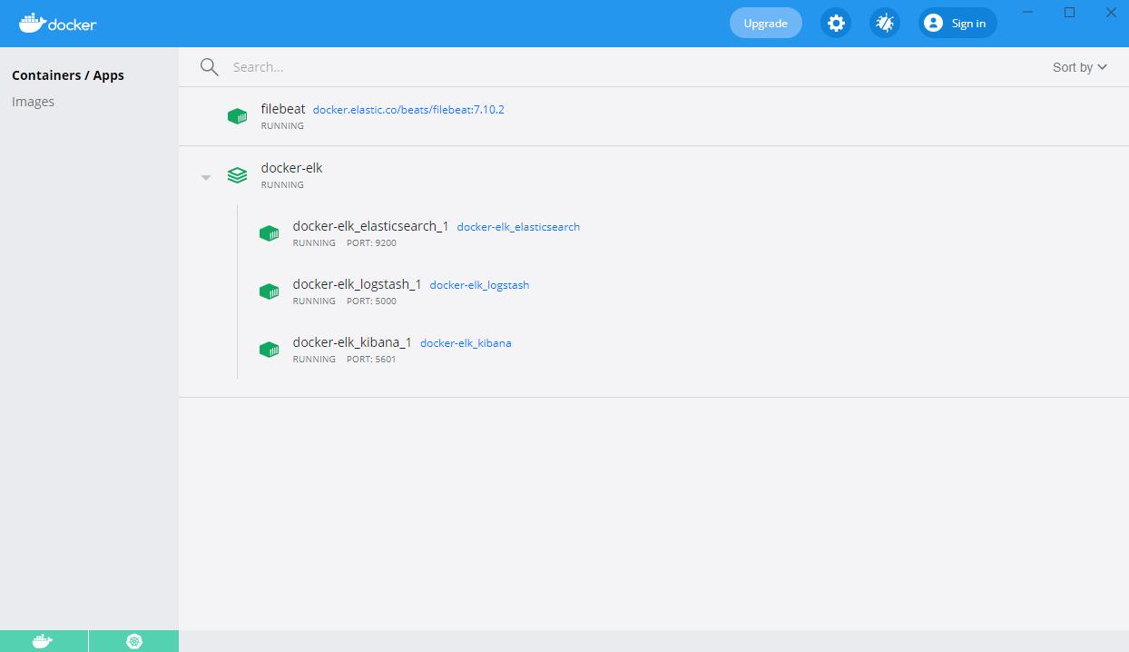 Filebeat with ELK stack on Docker Desktop dashboard