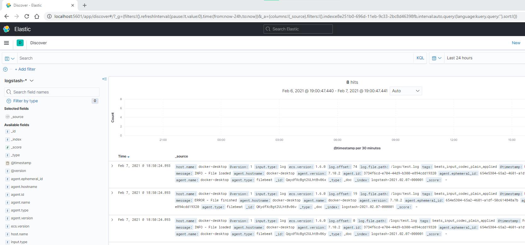Kibana Discover Filebeat log