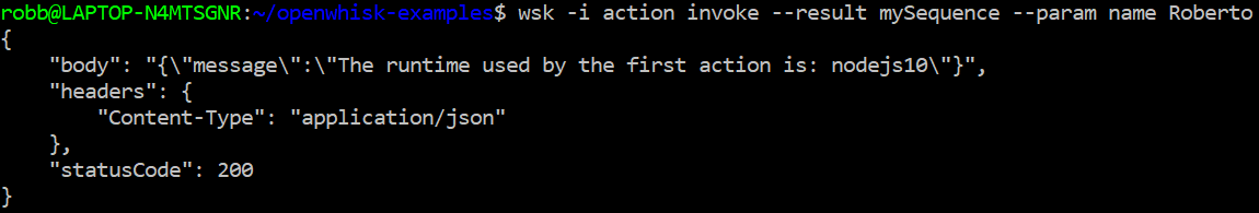 OpenWhisk sequence example output